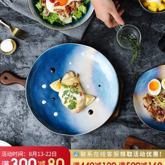 Ins web celebrity ceramic tableware household good-looking Japanese dishes creative Nordic bowl chopsticks, Korean bowl dish suits