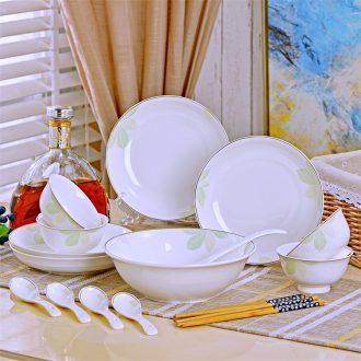 Jingdezhen dishes suit household ceramics tableware 4 people eat bread and butter plate soup bowl combine simple bowl chopsticks sets