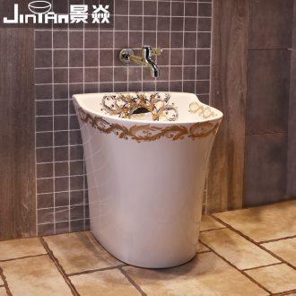 JingYan European art wash mop pool balcony groove ceramic mop basin mop mop pool automatic mop pool water