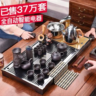 HaoFeng violet arenaceous kung fu tea set suits domestic ceramic cups automatic induction cooker tea tea solid wood tea tray