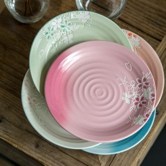 Chinese dish network HongCan disc ceramic nice flat creative personality Japanese western food steak plate household 0