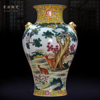Jingdezhen ceramics archaize qing qianlong enamel colour loose deer vase Chinese crafts are sitting room
