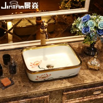 JingYan phnom penh lotus basin rectangle ceramic sinks Chinese art on the basin that wash a face on the sink