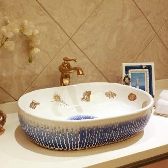 JingYan Mediterranean art stage basin oval ceramic lavatory toilet stage basin basin on the sink
