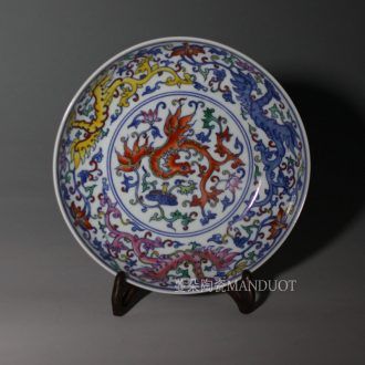 Jingdezhen hand-painted color 20 cm decorative blue-and-white porcelain dou color colorful decorative porcelain furnishing articles