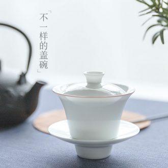 Jingdezhen ceramics by hand small tureen three cups to bowl white porcelain tea set bowl kung fu tea tea bowl