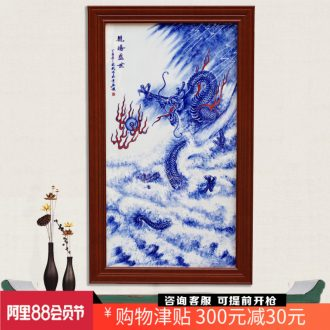 Jingdezhen blue and white porcelain hand-painted longteng shengshi porcelain plate painter in the living room a study background wall decoration painting hangs a picture