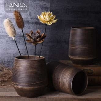 Ceramic coarse pottery new Chinese literary restoring ancient ways the sitting room is contracted household adornment manual flower vase home furnishing articles