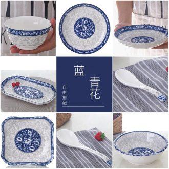 【 indigo flowers bulk 】 0 m the dishes suit household ceramic bowl bowl fish dish of jingdezhen noodles soup bowl