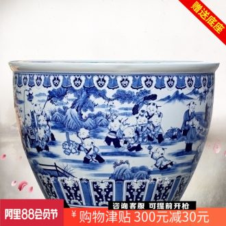 Jingdezhen ceramics aquarium antique hand-painted porcelain the lad tortoise water lily cylinder large sitting room courtyard wind water tanks