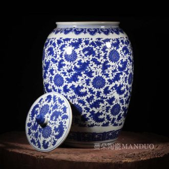 Jingdezhen porcelain put lotus flower wax gourd blue and white porcelain pot peony characters cover tank storage tank