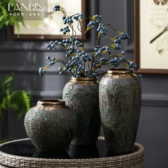 Vase furnishing articles dried flower arranging flowers sitting room decoration of Chinese style restoring ancient ways creative home decor ceramic pottery by hand
