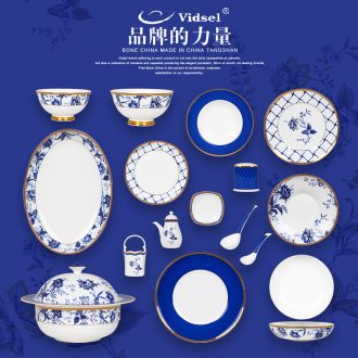 New Chinese blue and white porcelain bowls suit tangshan high-grade bone porcelain tableware ceramic dishes dishes suit household Chinese wind