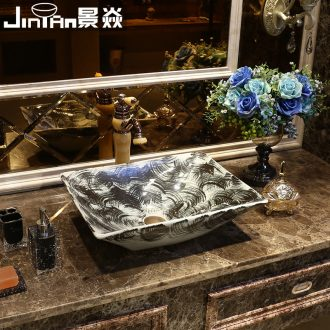 The unconstrained cursive script JingYan thick ink art stage basin creative ceramic lavatory rectangular basin basin on the sink