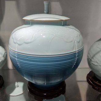 Jingdezhen 25 kg environmental protection high-grade watermelon cover ceramic storage tank practical household porcelain cover tank storage pickle jar