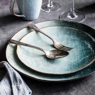 Million jia Nordic creative ice crack glaze ceramic tableware flat dish plate beefsteak dessert salad bowl