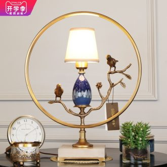 Emperor sitting room study all ceramic desk lamp new Chinese style villa brass lamp of bedroom the head of a bed of high-end jade chandeliers