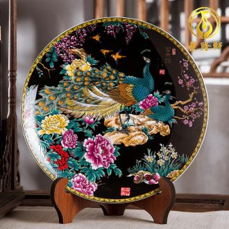 Jingdezhen ceramics furnishing articles home decorations hanging dish handicraft sitting room ark figure decoration plate of black with a silver spoon in her mouth