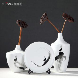 Jingdezhen ceramic vase living room zen furnishing articles new classical Chinese teahouse TV ark decorative vase