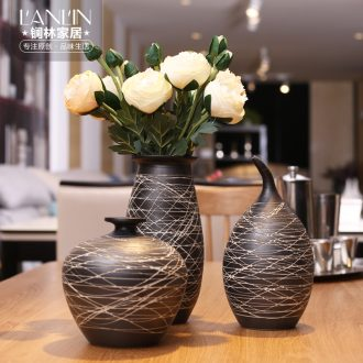 Contemporary and contracted sitting room Nordic home decoration ceramic vase furnishing articles new Chinese style coarse pottery flower vase
