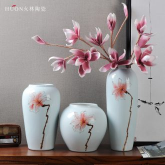 Modern new Chinese style living room TV cabinet ceramic vase wine porch desktop flower arranging home furnishing articles installed