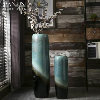 Jingdezhen landing simulation villa home sitting room Chinese flower arranging flower vase large ceramic decorative furnishing articles