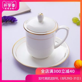 Jingdezhen ceramic cup with a lid hand-painted phnom penh bone porcelain cup cup suit working meeting of custom LOGO
