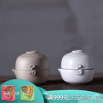 Million kilowatt/hall ceramic a pot of a single crack cup tea home portable travel easily bubble pot of heaven and earth: 02