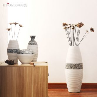 Contemporary and contracted three-piece furnishing articles dried flower vase hotel decoration decoration ceramics creative flower flower implement sitting room