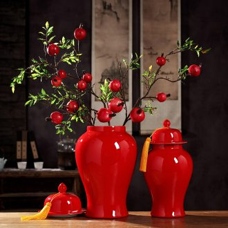 Jingdezhen ceramic tank storage tank general red vase of new Chinese style living room TV wine decorates porch place