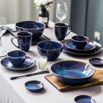 Million fine ceramic tableware restoring ancient ways of household eat dishes rainbow noodle bowl bowl contracted Nordic japanese-style flat soup bowl a salad bowl