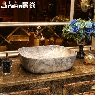 JingYan marble basin ceramic wash basin sinks American art stage basin on the sink