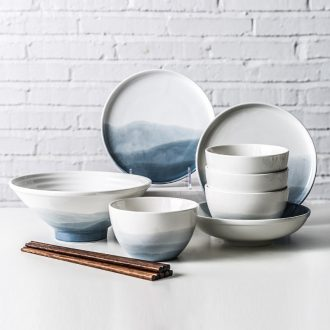 Creative ceramics tableware home dishes suit pretty simple Chinese wind bowl chopsticks ins web celebrity dishes
