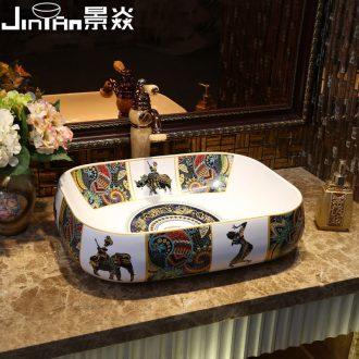 JingYan Europe type amorous feelings of the mayan art stage basin ceramic lavatory rectangular basin basin on the sink