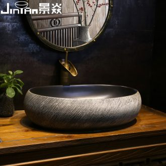 JingYan retro art stage basin large oval lavatory archaize ceramic lavabo Chinese style of the basin that wash a face