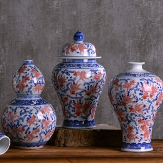 Porcelain of jingdezhen porcelain vases, pottery and porcelain place son jar modern new Chinese style household act the role ofing is tasted TV ark decoration