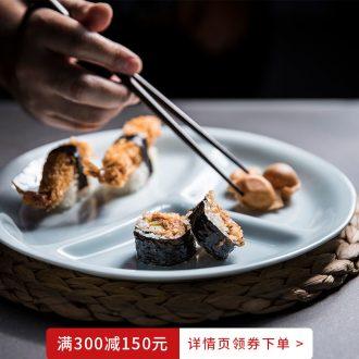 Million jia Japanese Japanese dish ceramic cuisine separating plate home three separate disc dumplings plate creative dishes