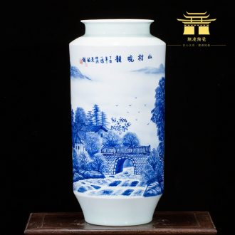 Jingdezhen ceramics landscape hand-painted blue and white porcelain vases, new Chinese style household adornment sitting room porch place