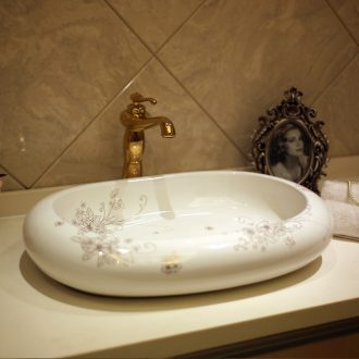 JingYan creative art on the boat basin to European ceramic sinks oval face basin on the sink