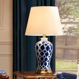 New Chinese style blue light blue and white porcelain ceramic desk lamp lamp of bedroom the head of a bed contemporary and contracted American luxury example room living room