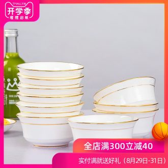 Is rhyme of jingdezhen ceramic bone China tableware bowl sets paint job prosperous bowl of soup bowl of Chinese style household bowl