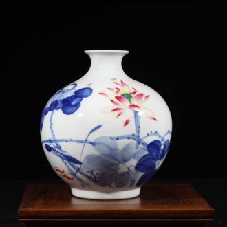 Jingdezhen jingdezhen Peng Xiaoqing high-grade hand-painted pomegranate lotus flower vase peony vase work new vase