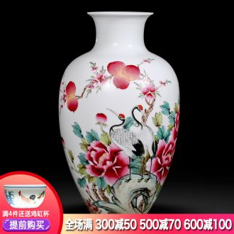 Jingdezhen ceramics hand-painted pastel vases, flower arranging longevity and prosperity of Chinese style sitting room adornment is placed gifts