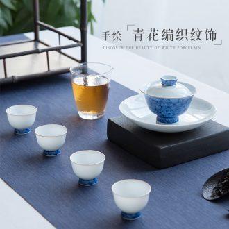 Jingdezhen hand-painted tureen of blue and white porcelain teacup handmade ceramic tureen tea tea bowl of tea gift set