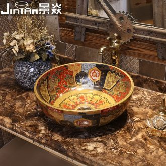 JingYan American retro stage basin art ceramic lavatory antique basin sink basin round the stage