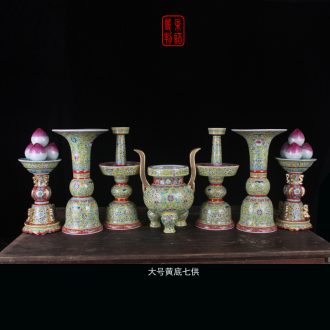 Jingdezhen in yellow red bottom five for China that occupy the home for famille rose porcelain candle furnishing articles temple buddhist temple with five