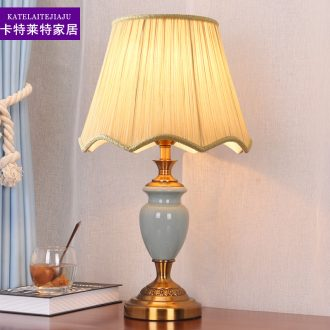 American ceramic lamp of the head of a bed bedroom light sweet romance contracted and modern luxury home warm light remote control decoration