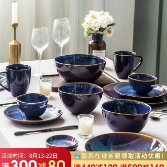Million fine dishes creative household ceramics tableware suit Nordic contracted Japanese lovely retro soup bowl dish dish combination