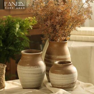 Manual rural ceramic coarse TaoHua machine dry flower arranging flowers furnishing articles zen tea room vases, ceramic flower pot clay POTS