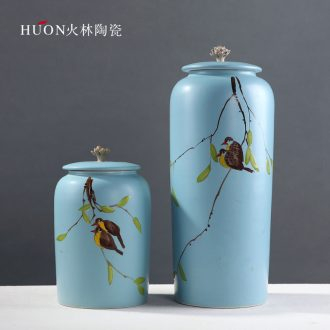 Modern new Chinese style act the role ofing is tasted the bird hand-painted ceramic vase furnishing articles shamrock storage tank household sample room decoration
